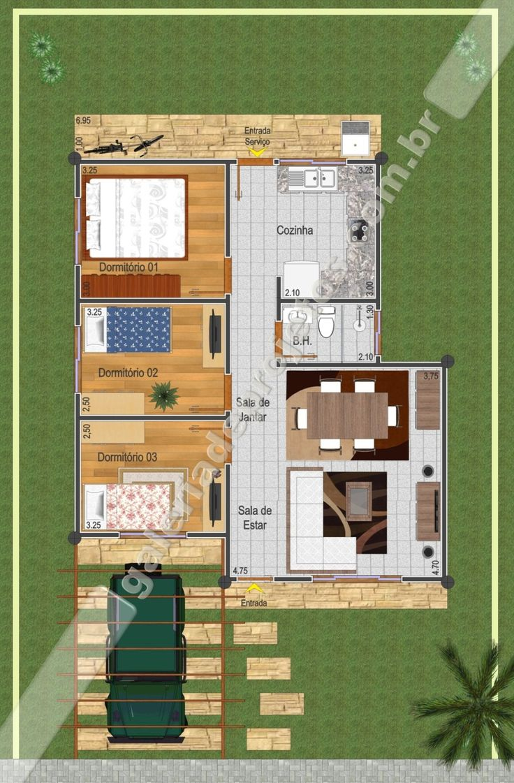 C projeto casa t rrea 3 quartos galeria de for Plantas arquitectonicas de casas