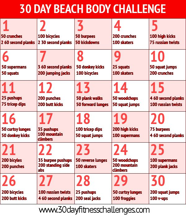 30 day beach body challenge----making myself do this at the beginning of August! Get right get right! Lol