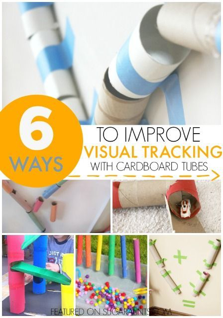 Visual tracking activities using recycled cardboard tubes, toilet paper tubes, gift wrap tubes, and paper tubes, for an Occupational Therapy treatment tool with kids working on visual perceptual skills.