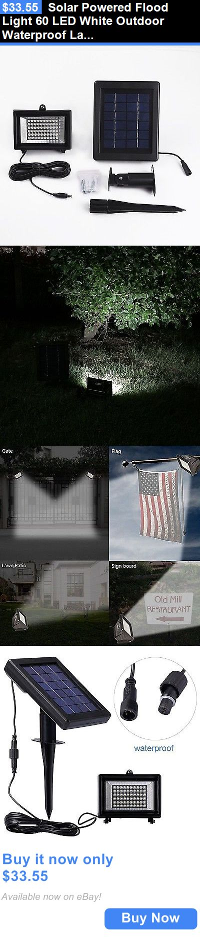 farm and garden: Solar Powered Flood Light 60 Led White Outdoor Waterproof Landscape Security... BUY IT NOW ONLY: $33.55