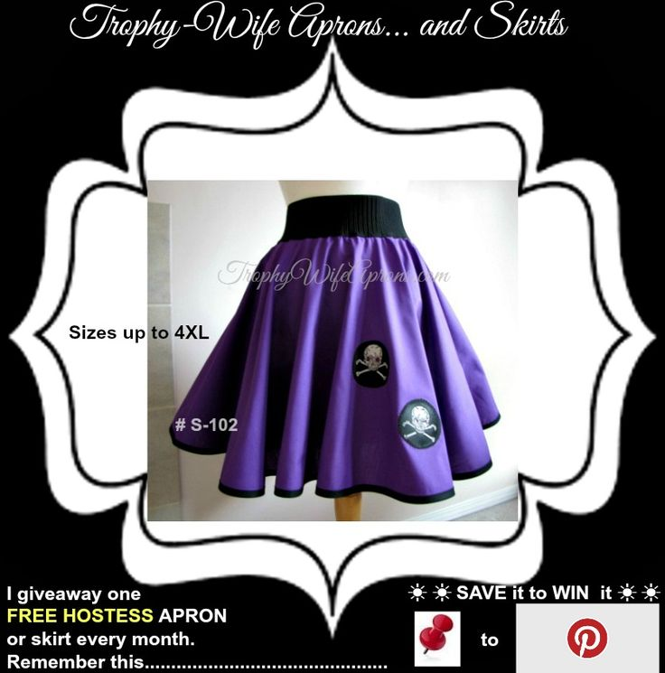 "☀ SAVE it to WIN it ☀  Trophy-Wife Skirt # S-102 -  $59.99 - This skirt will fit waist sizes 36"" to 40"" 17"" long from the black elastic to the bottom. Available in all sizes at www.TrophyWifeAprons.com  ☀ ☀ I give away a FREE Funky Hostess Apron every month ☀ ☀ CLICK HERE for details==>  www.TrophyWifeAprons.com"