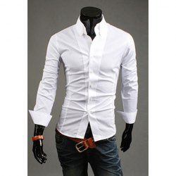 $9.96 Simple Style Solid Color Long Sleeve Men' s Shirt