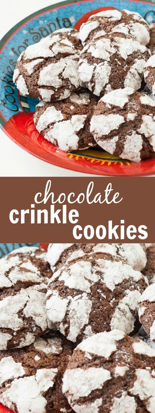 These soft and chewy Chocolate Crinkle Cookies are rolled in powdered sugar before baking for the classic crinkle look. These are one of my family's all-time favorite Christmas cookies!