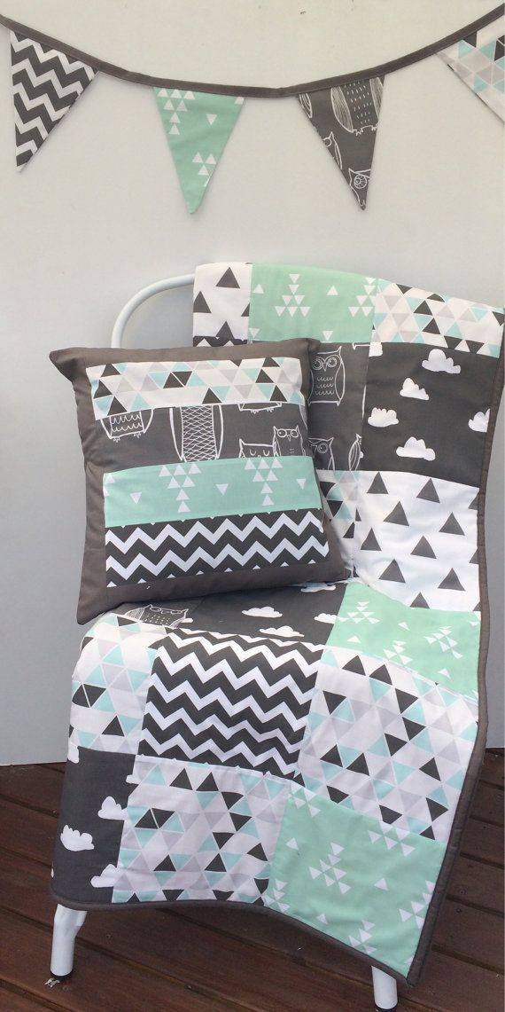 Grey Aqua Mint and Black Patchwork Cot / Crib Quilt with by Danoah