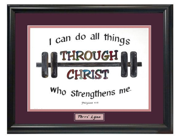 Philipians 4 13 I can do all things through Christ calligraphy work out art picture with black frame and burgundy matting