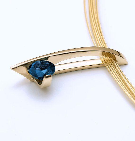 14k gold pendant London blue topaz necklace blue topaz