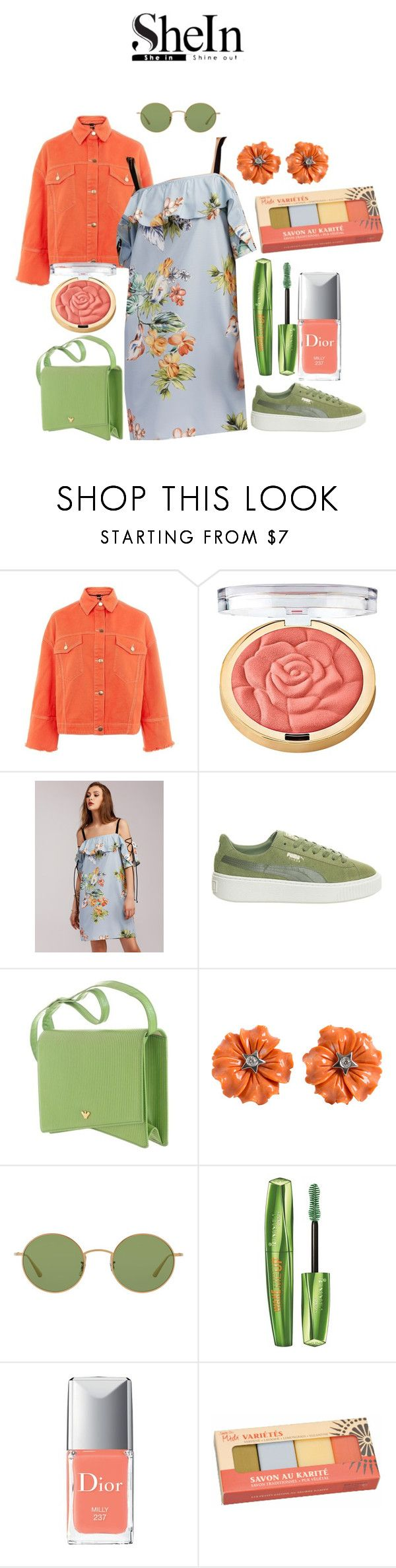 """Shein Love!"" by mrudula-26 ❤ liked on Polyvore featuring Topshop, Milani, Puma, Oliver Peoples, Rimmel, Christian Dior and Oxford Brush Company"