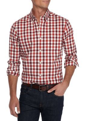 Saddlebred Men's Long Sleeve Tailored Stretch Oxford Shirt - Red/Ivory - 2Xl