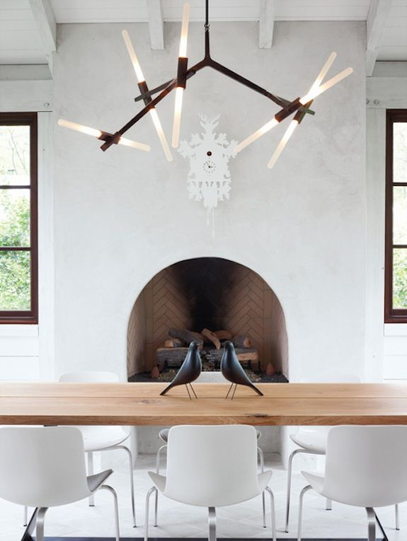 lights: Dining Rooms, Chandelier, Eames Houses, Lights Fixtures, Barbara Hill, Fireplaces, Interiors Design, Dining Spaces, Cuckoo Clocks