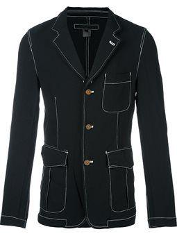 contrast stitching three button blazer