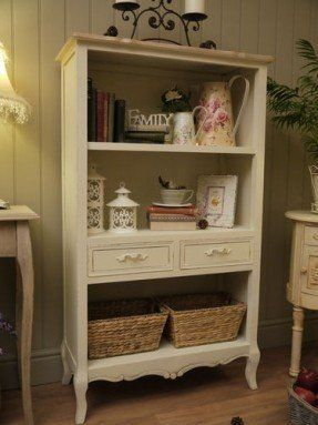 Shabby Chic Bookcase Shelves Cream Dresser Display Wall Unit Drawers