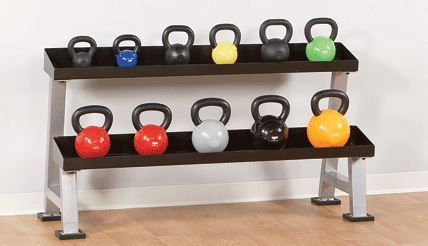 This kettlebell rack holds all size kettlebells.