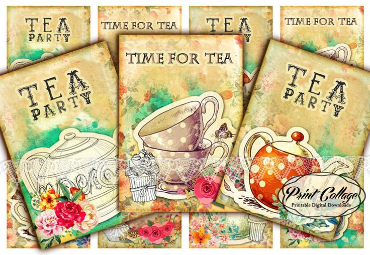 Tea - Digital Collage Sheet Designed Gift Tags and Cards for Scrapbooking Printable Paper for Jewelry Holders Tags T43 - pinned by pin4etsy.com
