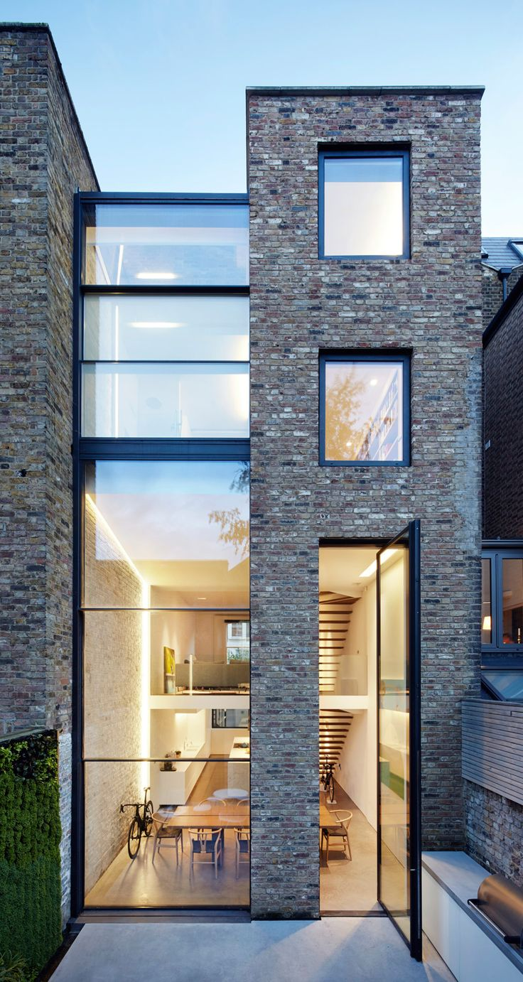 Tall Windows, Terraced House, House Extensions, London House, North London,  Modern Architecture, Slot, Patio, Exterior