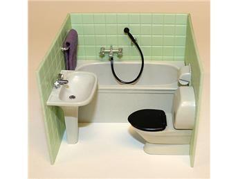 Komplett badrum till dockskåp, Brio från ca 1960-70-talet
