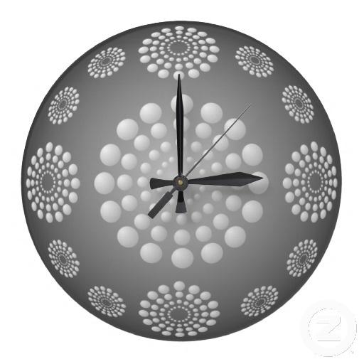 Gray and White Polka Dot Beads Wall Clock