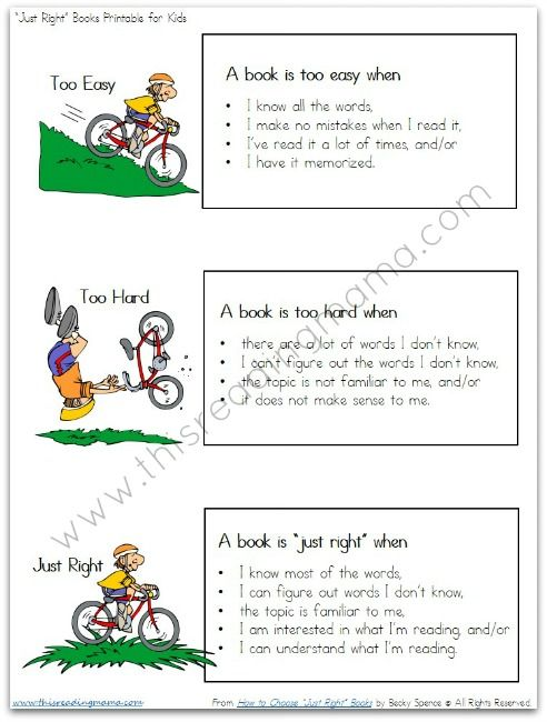 "Free Printable: Helping Kids Identify ""Just Right"" Books for Themselves"