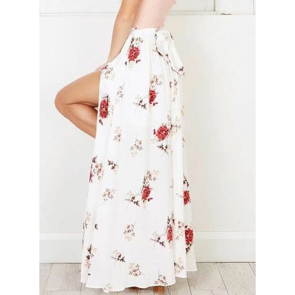 Bohemian High Waist Floral Printed Slit Maxi Skirt ❤ liked on Polyvore featuring skirts, high waisted maxi skirt, floral maxi skirt, long white skirt, boho maxi skirt and high-waisted maxi skirt