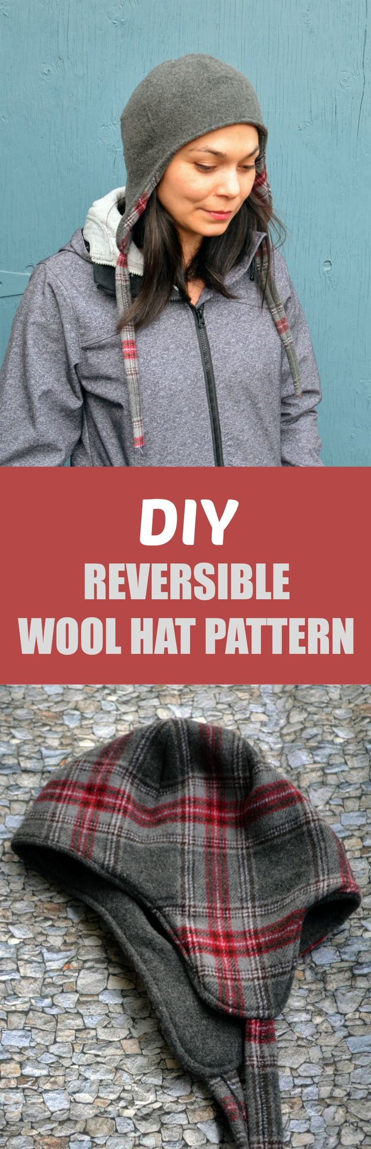 DIY Reversible Wool Hat Pattern: Learn how to make an easy, cute and simple reversible hat for women. Pattern and full step by step sewing tutorial included