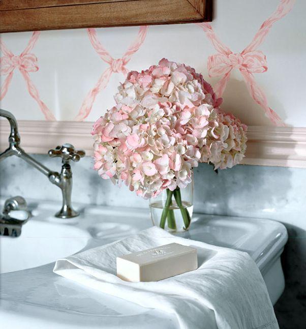 *sink, wallpaper, pink flowers,Lady Room, Happy Mondays, Ribbons Bows, Ralph Lauren, Vintage Chic, Pink Hydrangeas, Childhood Memories, Dreams Bathroom, Fresh Flower