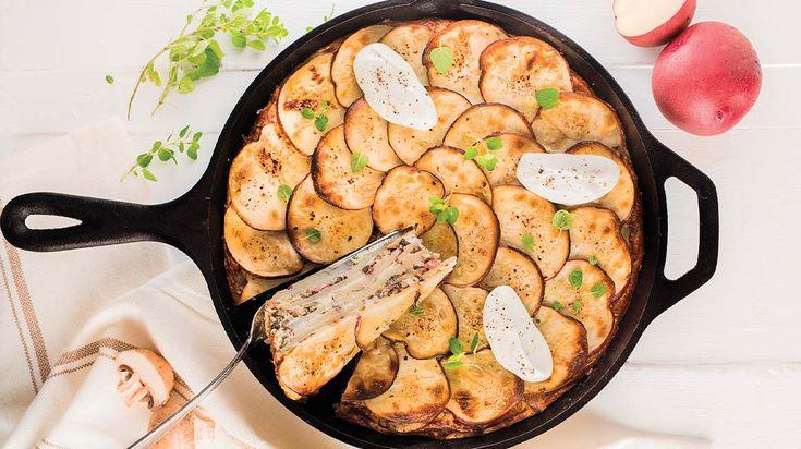 Frittata étagée aux pommes de terre, aux champignons et à la pancetta