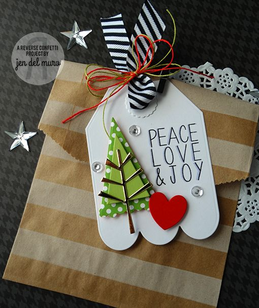 Christmas tag by Jen del Muro. Reverse Confetti stamp set: Seasonal Sentiments. Confetti Cuts: Branch Out, Love Note (heart) and Tag Me, Too. Christmas gift wrap.