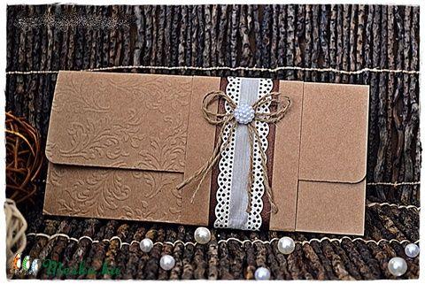 Vintage pénzátadó/ Esküvői meghívó, Esküvő, Meghívó, ültetőkártya, köszönőajándék, Nászajándék, Papírművészet, Meska