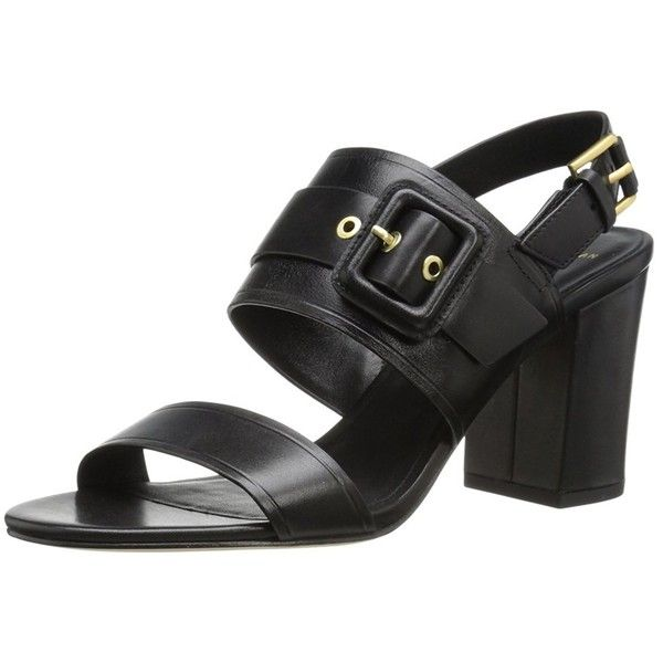 Cole Haan Women's Amavia High-Heeled Sandal ($54) ❤ liked on Polyvore featuring shoes, sandals, black, flat sandals, chunky-heel sandals, black ankle strap flats, black flats and black thong sandals