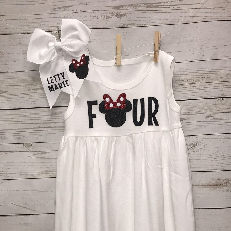 Four Birthday Outfit, Minnie Mouse Dress, Four Birthday Shirt, Four shirt, Toddler girls clothing, Minnie Mouse, Disney Dress, custom dress by lilsouthernaccents on Etsy https://www.etsy.com/listing/502214776/four-birthday-outfit-minnie-mouse-dress