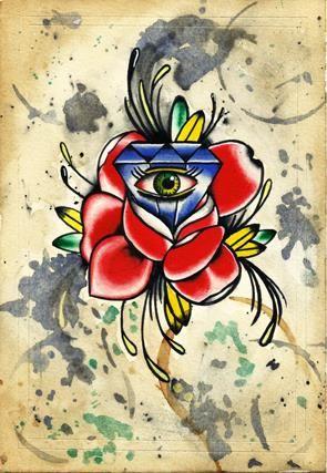 Flash tattoo,watercolor,acuarela ,diamante,diamond,rosa,ojo,tradicional.