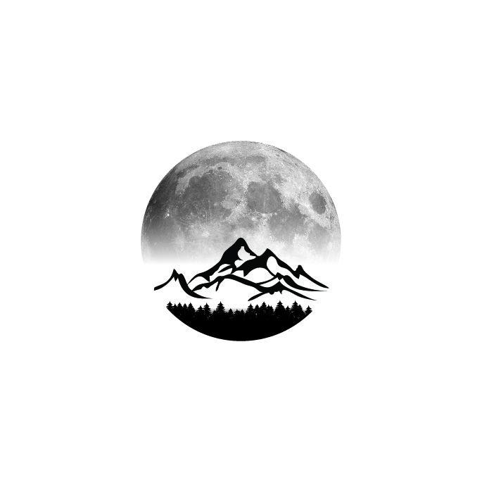 Mountain moon circle tattoo idea i made