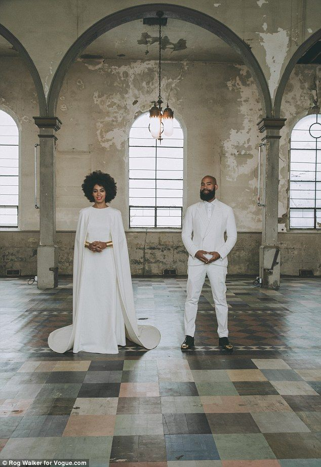 And the bride (and groom) wore white! Solange Knowles, 28, and music video director Alan F...