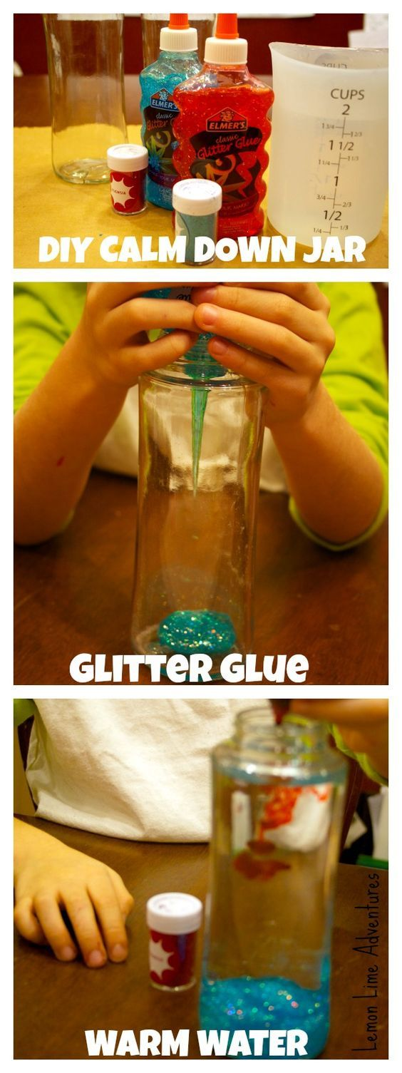 DIY calm down jars...I tried a sensory bag recently and no matter what I did it leaked, like this much better :)