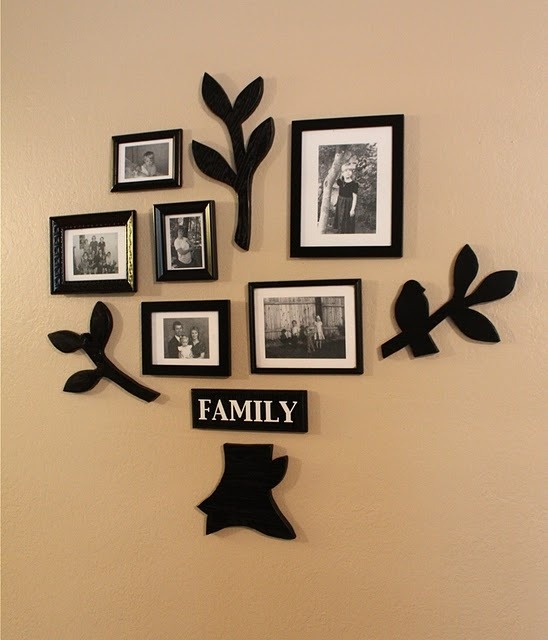 wooden family tree arrangement