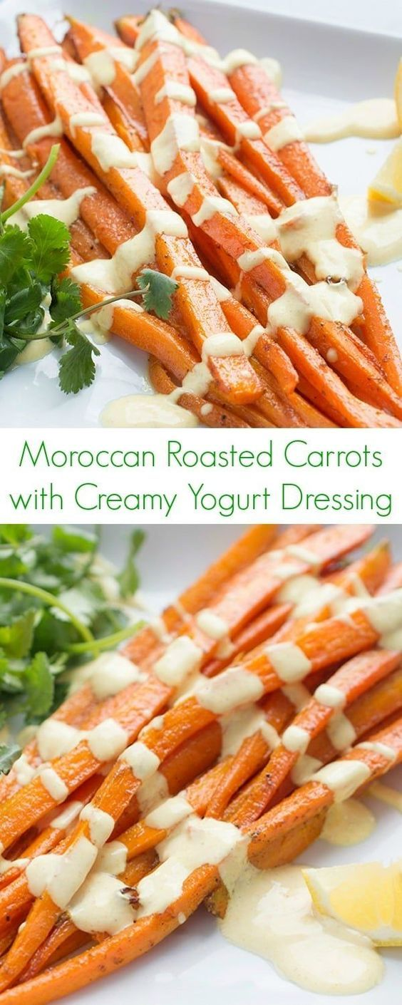 Moroccan Roasted Carrots with Creamy Yogurt Dressing Recipe - A healthy, fast, and easy side dish that brings the flavors of Africa right to your kitchen! -The Lemon Bowl