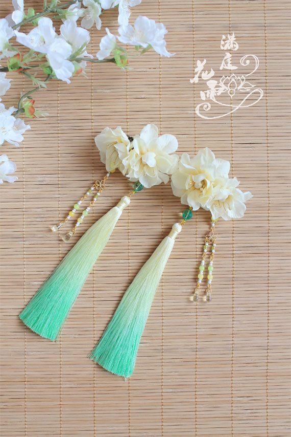 【滿庭花雨】月中仙——絹花手染冰絲漸變流蘇對夾-淘寶台灣,萬能的淘寶