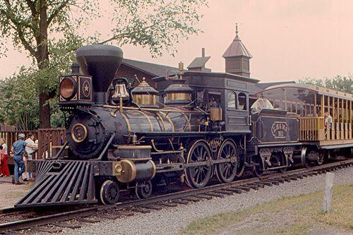 A Baldwin 4-4-0 (2 B) steam locomotive at Greenfield Village, in Dearborn, Michigan.