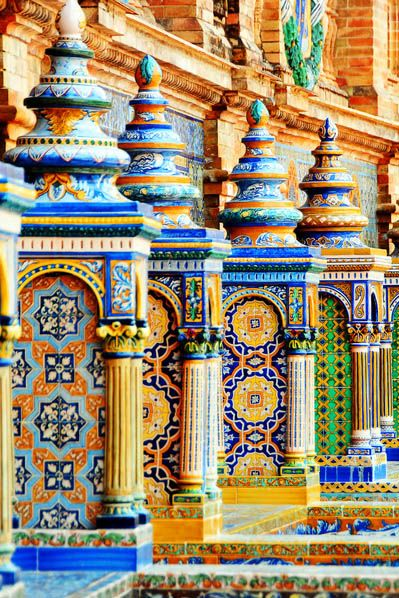Painted tiles in the Plaza de España in the Parque de María Luisa, in Seville, Spain built in 1928 for the Ibero-American Exposition of 1929. It is a landmark example of the Renaissance Revival style in Spanish architecture.