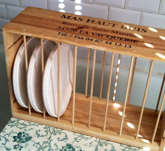 Compact under cabinet kitchen cottage wood counter plate dish rack stand shelf