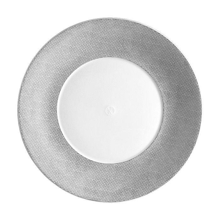 "Dinner plate, Shape ""MEISSEN® COSMOPOLITAN"", Mesh, platinum, Ø 24 cm"