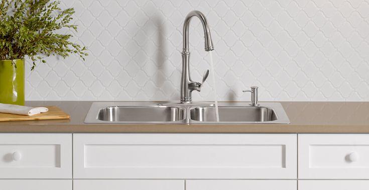 Evier sink slim rim kohler eventide kitchen sinks - Kitchen sink rim ...