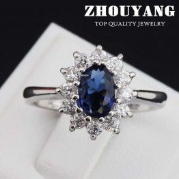 Top Quality Princess Kate Blue Crystal Silver Color Wedding Ring