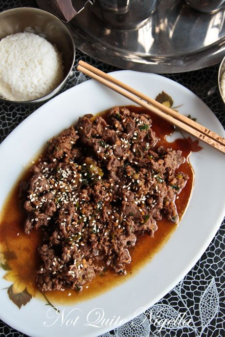 Bulgogi Beef: skirt steak, ginger, orange juice, soy sauce, pepper paste, sriracha, garlic cloves, marinate at least 2 days, serve w rice