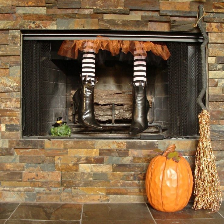 Fireplace witches legs Halloween fireplace, Halloween