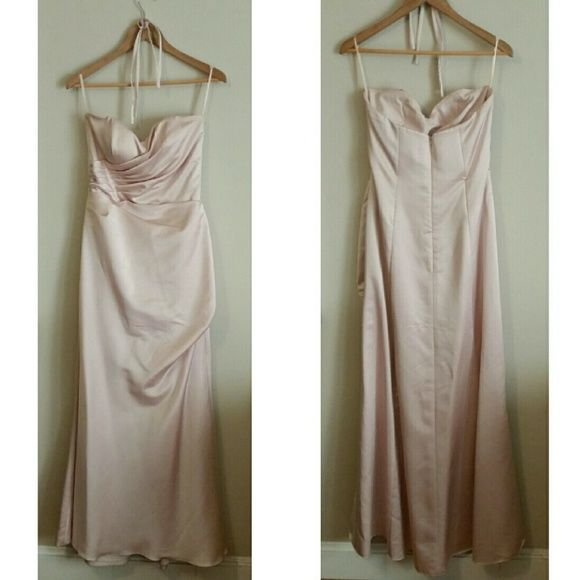 """*New Item* Impression Bridal Bridesmaid Dress Don't spend $200 on a dress, ladies.  This is authentic Impression Bridal Bridesmaid dress #1733 in blush satin.  I bought a 12 to then tailor down to me.  Armpit to armpit:  16.5"""", waist: 16"""", hips: free.  Will ship with dress bag Impression Bridal Dresses Strapless"""