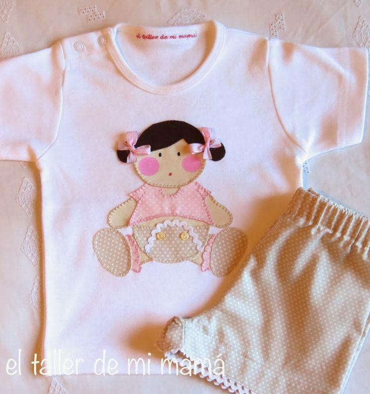 Conjunto para niña de la colección de verano 2014. Diseño bebé en rosa.