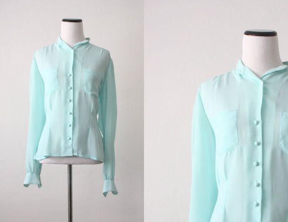 vintage soft mint blouse