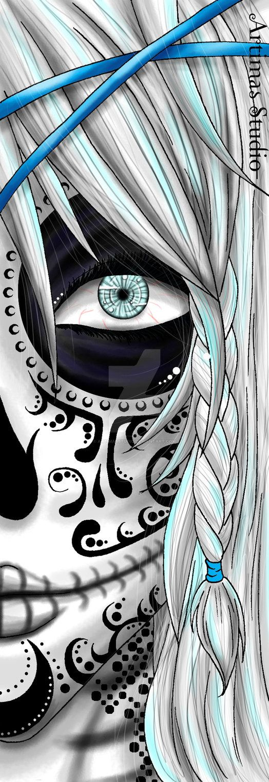 ** ** I enjoy/LOVE the s but I also love comments! Thanks! ** So trying something new, i love Sugar Skulls and I've been dying to take a crack at them for a while. The base of the face and hair was...