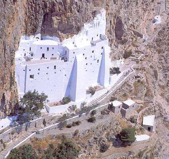 The spectacular #monastery of #Panagia #Hozoviotissa is tucked against the cliffs, northeast of Chora, on #Amorgos Island, #Greece