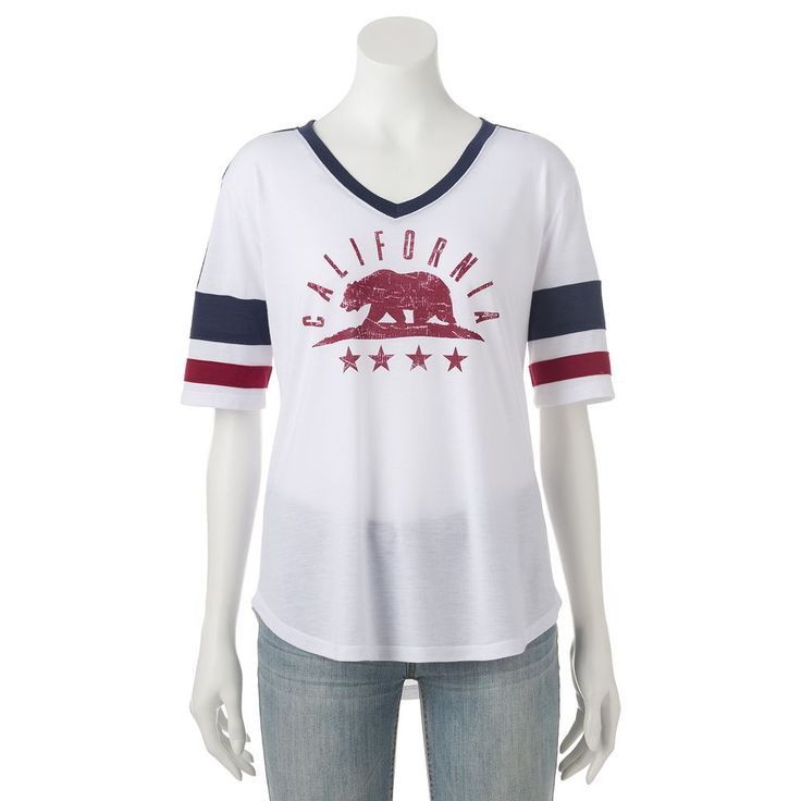 Juniors' California Grizzly Bear V-Neck Graphic Tee, Teens, Size: Medium, White Oth